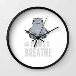 Funny Yoga Cat Paws Wall Clock