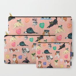 Valentine's Day Candy Hearts Puppy Love - Peach Carry-All Pouch