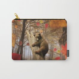 Brown bear climbing on tree Carry-All Pouch