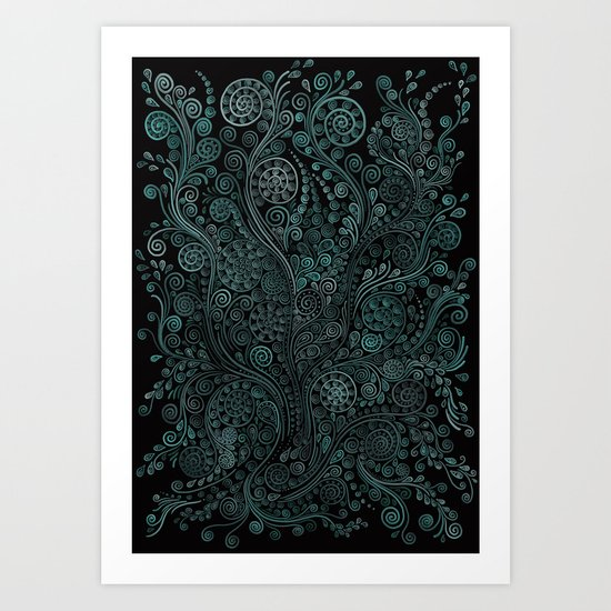 Teal ornaments Art Print