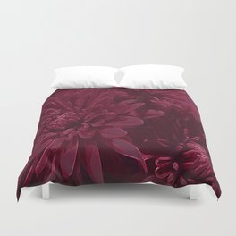 Burgundy Chrysanthemums Duvet Cover