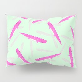 Modern neon pink green girly cute funny alligator pattern Pillow Sham