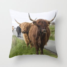Highland cows on the Isle Throw Pillow