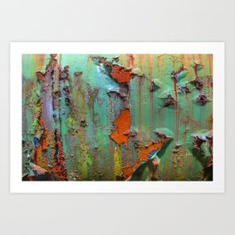 Flaking Paint on Rust Art Print