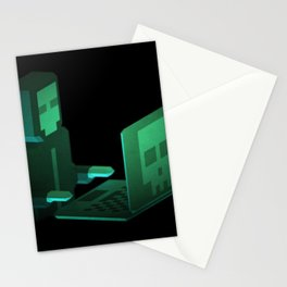 Hacker low-poly 3D artwork Stationery Cards