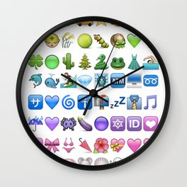 Emoji icons by colors Wall Clock