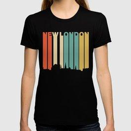 Retro 1970's Style New London Connecticut Skyline T-shirt