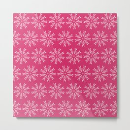 Bright & Bold Pink & White Repeat Floral Design Metal Print