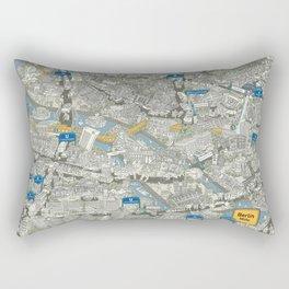 Illustrated map of Berlin-Mitte. Green Rectangular Pillow