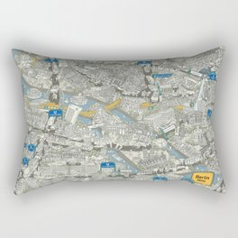 Illustrated map of Berlin-Mitte. Green Rectangular Pillow