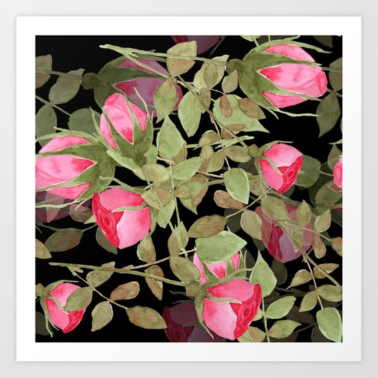 The buds of tender roses on a black background . Retro . Art Print