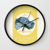 the hound Wall Clocks featuring HOUND. by LiseRichardson