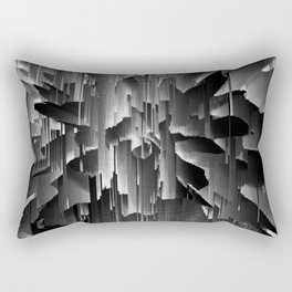Flowers Exploding with Dots in Black and White Rectangular Pillow