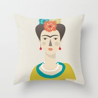frida Throw Pillows featuring Frida by Judy Kaufmann