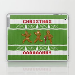 Ugly Christmas Sweater Scared Gingerbread Men Green Laptop & iPad Skin