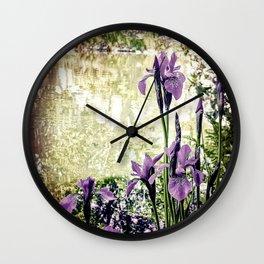 Purple Irises Wall Clock