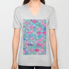 Colorful Pink and Blue Watercolor Trendy Glitter Mermaid Scales Unisex V-Neck