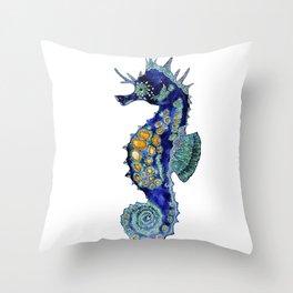 Blue Horse Throw Pillow
