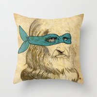 leonardo dicaprio Throw Pillows featuring Leonardo by Nick Rees Illustration