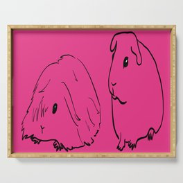 Guinea Pigs - American and Silkie With Hot Pink Background Serving Tray
