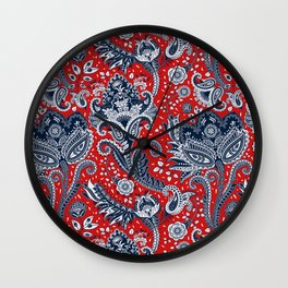 Red White & Blue Floral Paisley Wall Clock