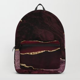 Burgundy & Gold Agate Texture 02 Backpack