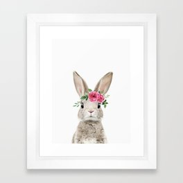 Baby Bunny with Flower Crown Framed Art Print