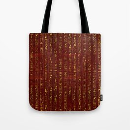 Golden Egyptian  hieroglyphics on red leather Tote Bag