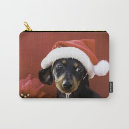 Christmas Dachshund Puppy Wearing a Santa Hat with Poinsettias Carry-All Pouch