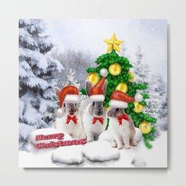 Schneehasen wünschen: frohe Weihnachten Metal Print