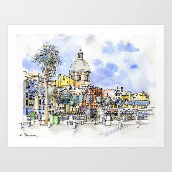 Genova Pegli, lungomare Art Print