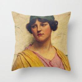 """John William Godward """"The yellow shawl"""" Throw Pillow"""