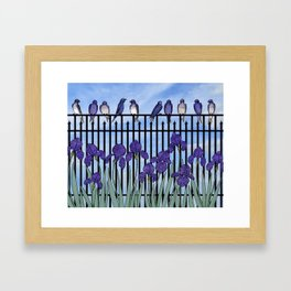 purple martins & purple irises Framed Art Print