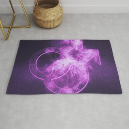 Male homosexuality symbol. Gay glyph. Doubled male sign. Abstract night sky background Rug