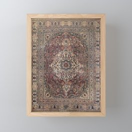Antique Persia Doroksh Old Century Authentic Dusty Dull Blue Gray Green Vintage Rug Pattern Framed Mini Art Print