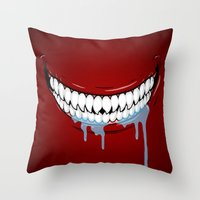 technology Throw Pillows featuring Hungry Technology by R-evolution GFX