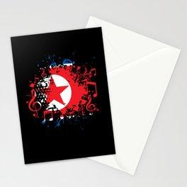 North Korea Flag Music Stationery Cards