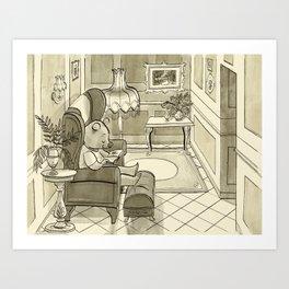 Bear's Reading Chair Art Print