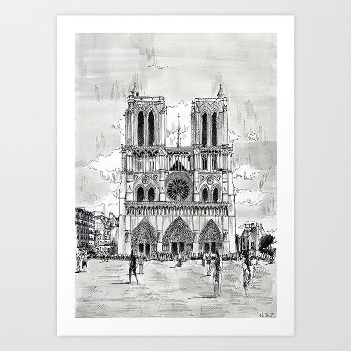 Notre Dame Paris Drawing Art Print By Nicolasjolly Society6