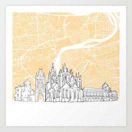 Prague Czech Republic Skyline Map Art Print