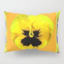 LILAC FRAMED YELLOW  PANSY GARDEN FLOWERS Pillow Sham