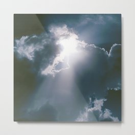 Sunburst of Light Parting the Clouds Metal Print