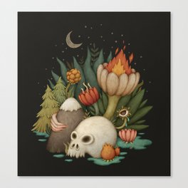 Dark illustration with skull, flowers, forest. Night sky Canvas Print