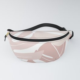 Pink monstera leaves Fanny Pack