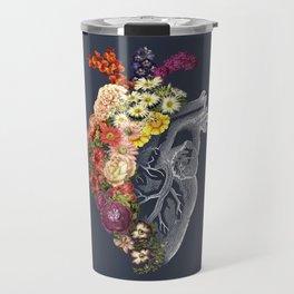 Flower Heart Spring Blue Grey Travel Mug
