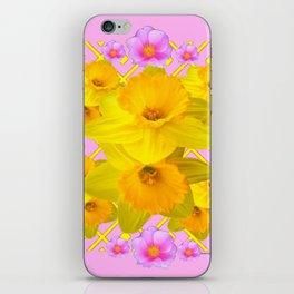 Yellow Daffodils & Pink Roses Abstract iPhone Skin
