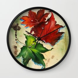 Platanus Leaves Wall Clock