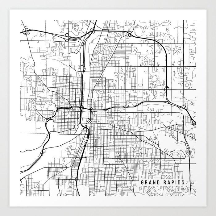 Grand Rapids Map, USA - Black and White Art Print by mainstreetmaps