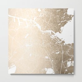Amsterdam Gold on White Street Map II Metal Print