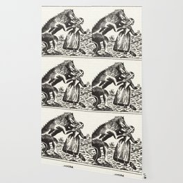 Werewolf attack Medieval etching Wallpaper
